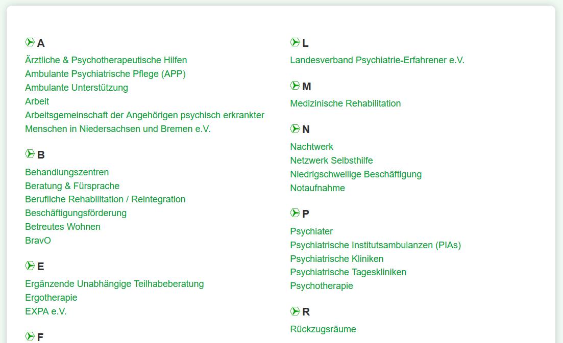 Screenshot A-z Suche